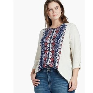 Lucky Brand Placed Print Top Womens Plus 2X